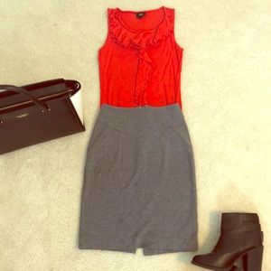 H&M Gray Pencil Skirt with Back Slit